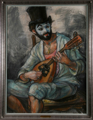 Minstral Clown is a pastel piece by S. C. Schoneberger. The piece is 30 inches wide x 40 inches high. This piece appraises at $7000.00 (appraisal available). The Butte Silver Bow Arts Foundation will be selling this piece for $3500.00 or a reasonable offer.
